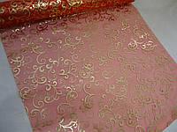 Декоративная органза красная с золотым узором 90 см