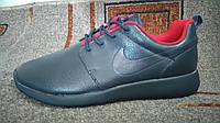 Мужские повседневные кроссовки Roshe Run кожа темно-синие, фото 1