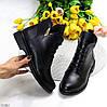 Стильные черные кожаные женские зимние ботинки натуральная кожа низкий ход, фото 2
