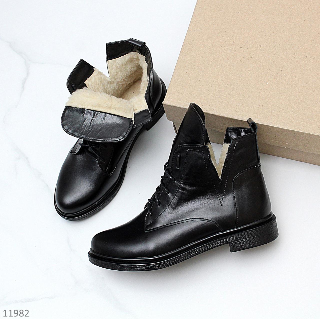 Стильные черные кожаные женские зимние ботинки натуральная кожа низкий ход