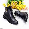 Стильные черные кожаные женские зимние ботинки натуральная кожа низкий ход, фото 4