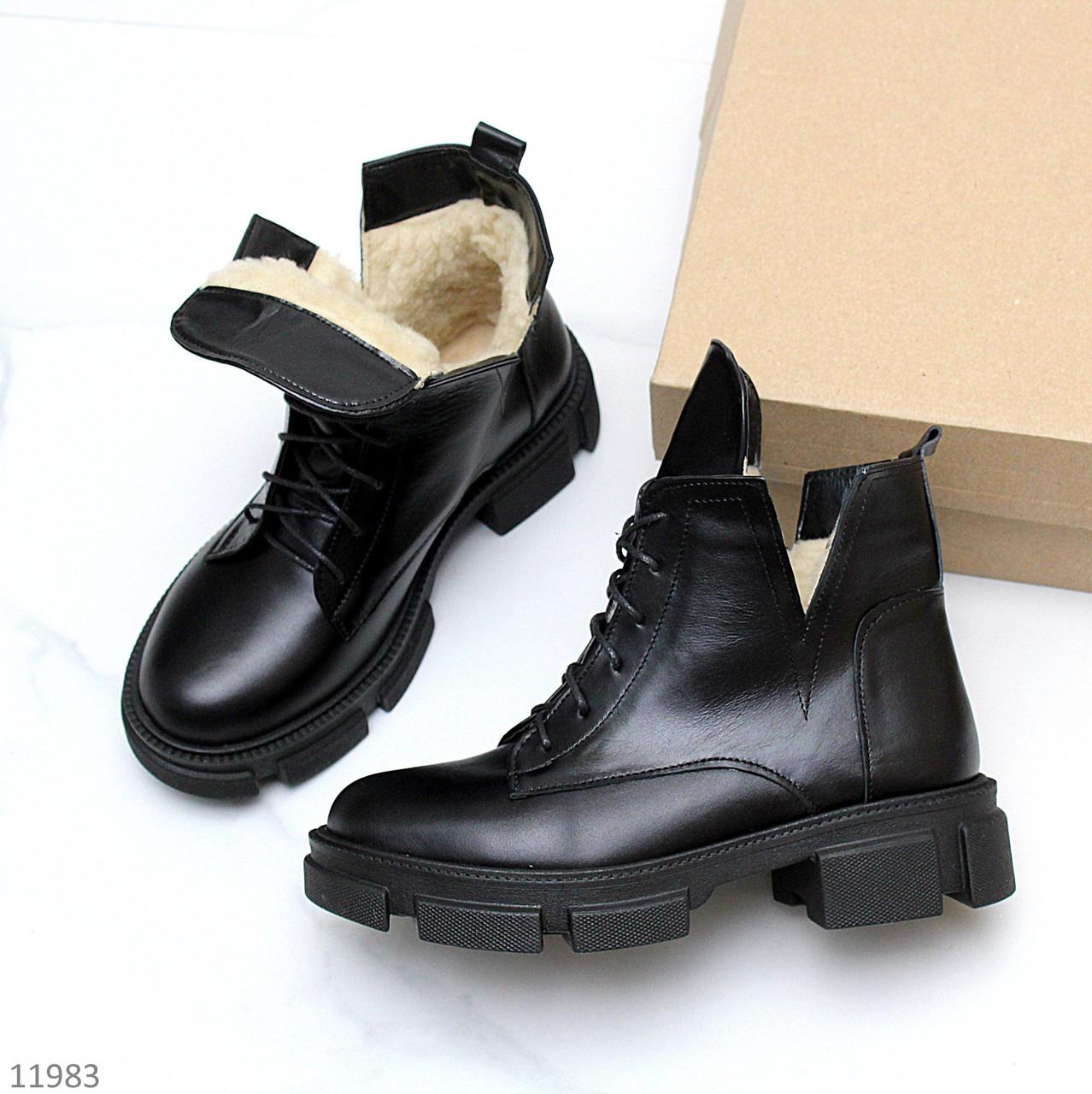 Молодежные черные кожаные женские зимние ботинки натуральная кожа на тракторной подошве