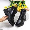 Молодежные черные кожаные женские зимние ботинки натуральная кожа на тракторной подошве, фото 10