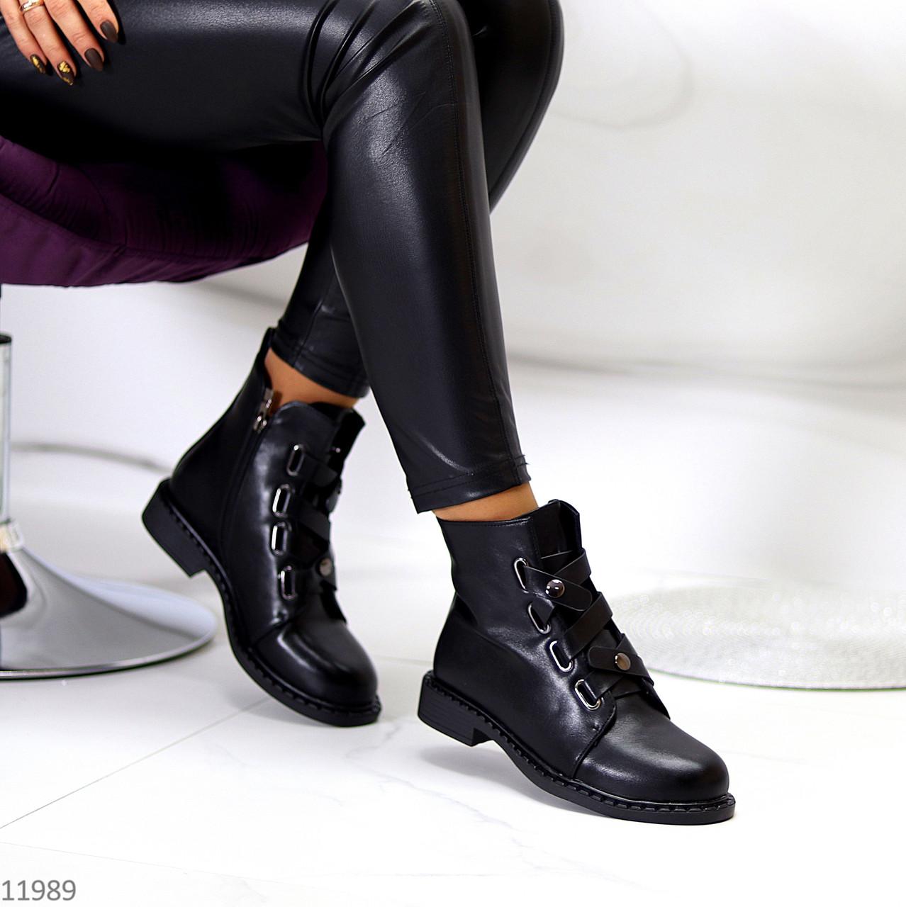 Оригинальные черные высокие женские ботинки декор шнуровка ремень