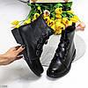Оригинальные черные высокие женские ботинки декор шнуровка ремень, фото 2