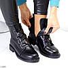 Оригинальные черные высокие женские ботинки декор шнуровка ремень, фото 6