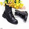 Оригинальные черные высокие женские ботинки декор шнуровка ремень, фото 10