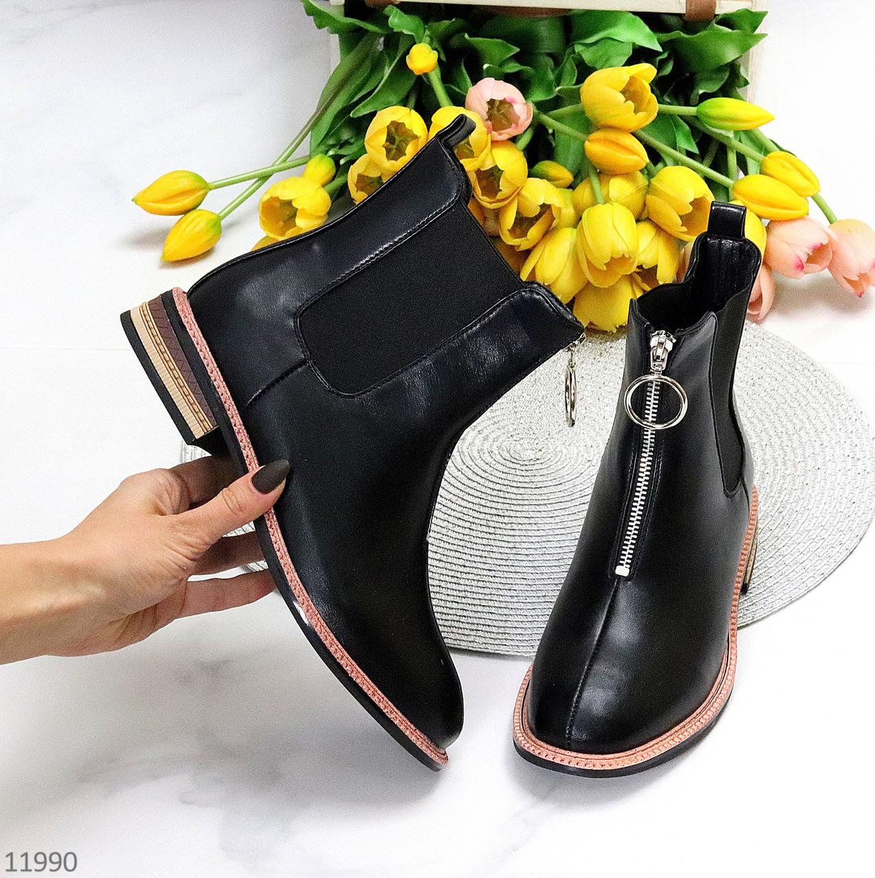 Актуальні повсякденні чорні жіночі черевики челсі на флісі низький хід
