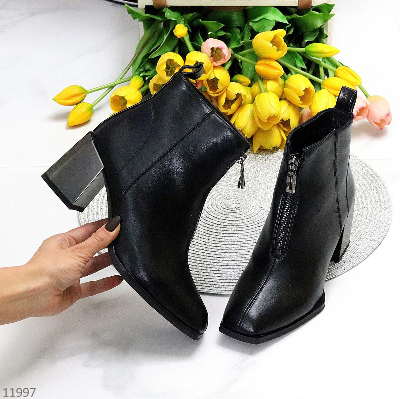 Люксові чорні ботильйони жіночі черевики на блискавці фігурний каблук