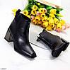 Люксовые черные женские ботинки ботильоны на молнии фигурный каблук, фото 10