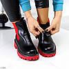 Яркие черные красные женские ботинки челси на флисе с эластичными вставками, фото 9