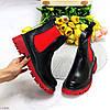 Яркие черные красные женские ботинки челси на флисе с эластичными вставками, фото 8