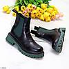 Чорні зелені хакі жіночі черевики челсі на флісі з еластичними вставками, фото 2