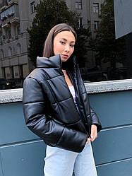 Женская дутая укороченная куртка из эко-кожи