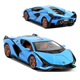 Машинка Lamborghini Sian коллекционная моделька игрушка металлическая 16 см Синий (59253)