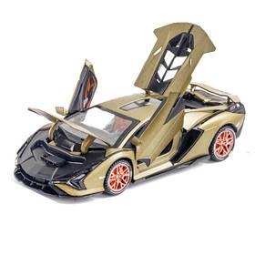 Машинка Lamborghini Sian игрушка моделька коллекционная металлическая 16 см Хаки (59254)
