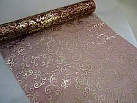 Декоративная органза бордовая с золотым узором 90 см