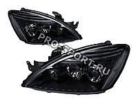 Тюнинг фары Mitsubishi Lancer 9 2004-2010 черные, с линзами