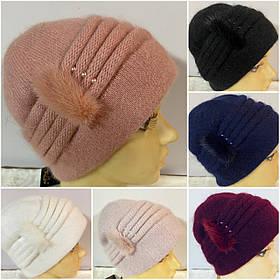 Жіноча шапка Yuan Meng прикрашена натуральної норкою кольори в асортименті
