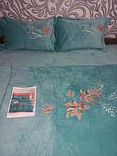 Комплект постільної білизни Велюровий теплий однотонний Листя Бірюзового кольору євро розмір