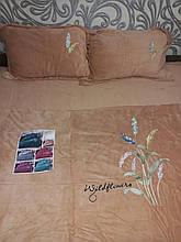 Комплект постільної білизни Велюровий теплий однотонний Колоски Бежевого кольору євро розмір