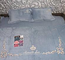 Комплект постельного белья Велюровый теплый однотонный Узор Серого цвета евро размер