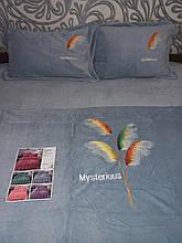 Велюровый Комплект постельного белья  однотонный Волшебное перо Серого цвета евро размер