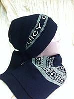 Женский набор  шапочка и шарф с рисунком