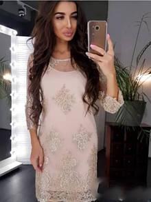 Сукня жіноча прямого крою з дорогим мереживом 24-70 розміру