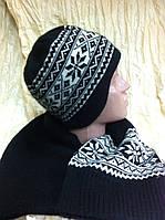 Женский набор  шапочка с ушками и шарф с рисунком