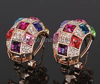 Шикарные серьги с кристаллами Swarovski, покрытые слоями золота (213501)