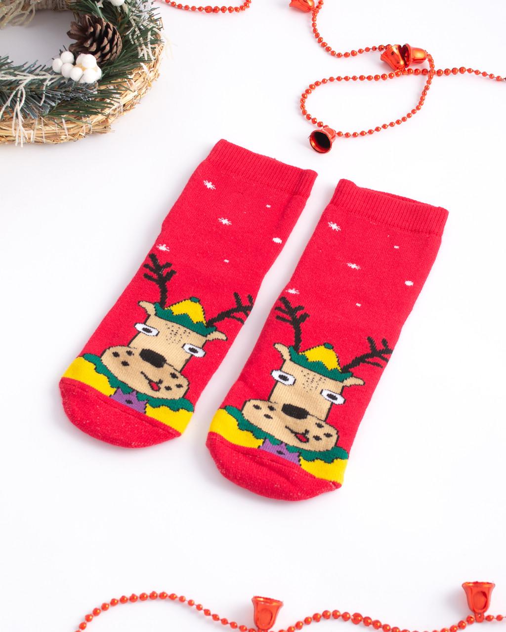 Дитячі шкарпетки махрові новорічні Олень