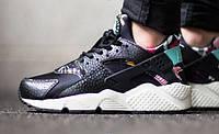 """Кроссовки женские Nike Air Huarache """"Черные с цветами"""" р. 36-38 , фото 1"""
