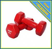 Гантель 4 кг MS 3279 с виниловым покрытием (Красный),Гантели, штанги и гири, Гантели женские,Гантели для