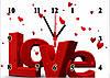 """Часы настенные стеклянные """"Любовь с сердечками"""""""