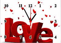"""Часы настенные стеклянные """"Любовь с сердечками"""", фото 1"""