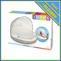 Матрас надувной с тканевым навесом 58292 со спинкой,Пляжный матрас для плавания,Матрас для моря,Надувной