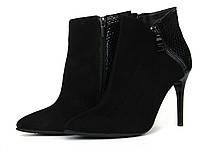 Ботинки на шпильке из черной замши с лаковой вставкой и молнией