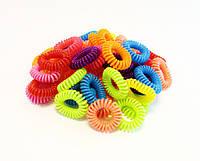 Резинка для волос силиконовая спиралька-100 шт.- ширина 1,0 см.* Ø 2,5 см.