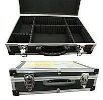 Кейс алюмінієвий для інструменту і дрібниць з перегородками, металеві замки, 425 * 285 * 120 мм Htools
