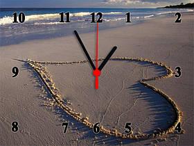 """Настенные часы """"Heart on the beach""""  кварцевые"""