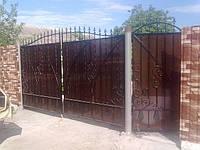 Ворота въездные обшитые поликарбонатом, фото 1