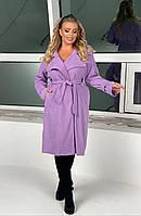 Стильный женский тренч батал, модный женский вельветовый плащ, пальто осеннее демисезонное большие размеры