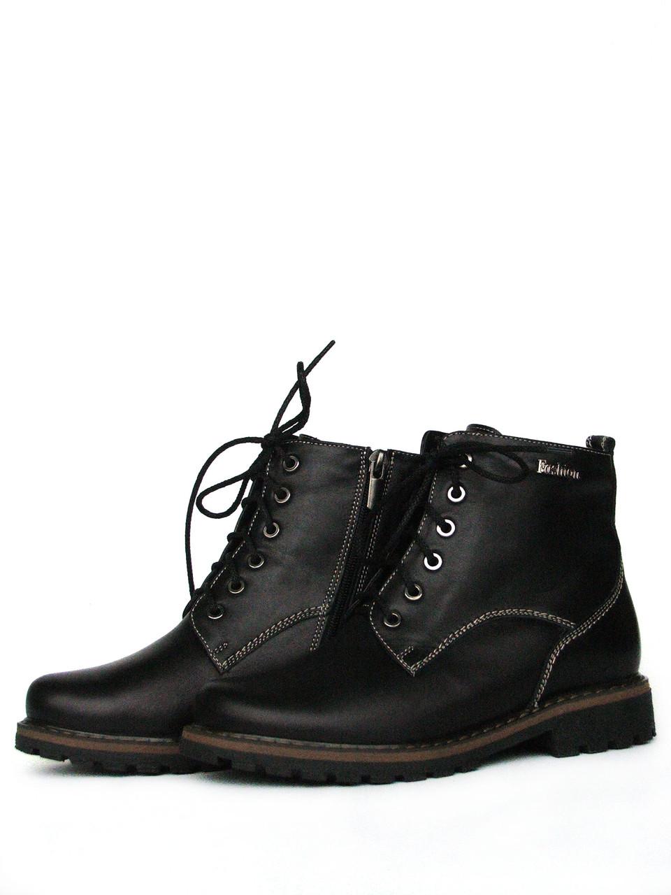 Женские зимние кожаные черные ботинки со шнуровкой