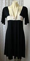 Платье женское черное вискоза стрейч миди бренд Wallis р.48 5215