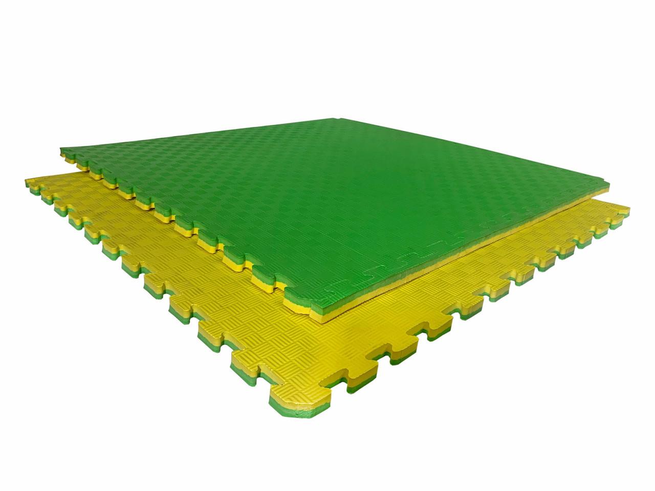 """Мат-татами  """"ласточкин хвост"""" 80 кг/м3 20мм зелено-желтые Т1"""