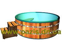 Купели, бассейны полипропиленовые круглые зашитые дубом