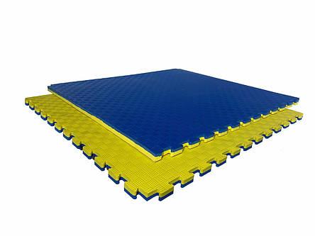 "Мат-татами ""ласточкин хвост"" 80 кг/м3 40мм желто-синий Т2, фото 2"