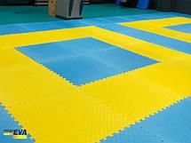 "Мат-татами ""ласточкин хвост"" 80 кг/м3 40мм желто-синий Т2, фото 3"