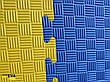 "Мат-татами ""ласточкин хвост"" 80 кг/м3 40мм желто-синий Т2, фото 4"